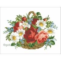 Кошница с рози и маргарити
